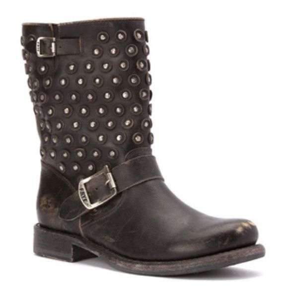 """FRYE BLACK STONE WASHED SHORT BOOT Leather upper. 1.25"""" heel height. 8.5"""" shaft height. 15"""" circumference. Hand hammed brass studs. Rubber heel. Leather lining. Cushioned footbed. NO TRADES. NO MODELING. Frye Shoes Ankle Boots & Booties"""
