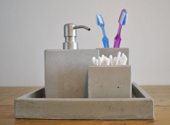 Bathroom Accessories Etsy concrete bath set / concrete tray / concrete soap dispenser