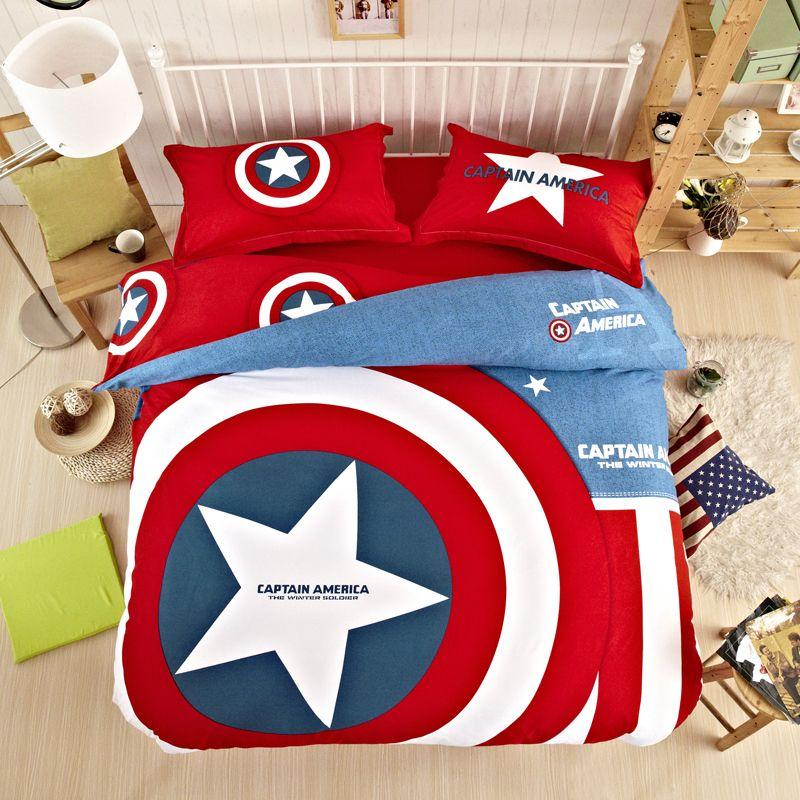 Hot Seller 100% Cotton Captain America Duvet Set Sports Bedding For ...