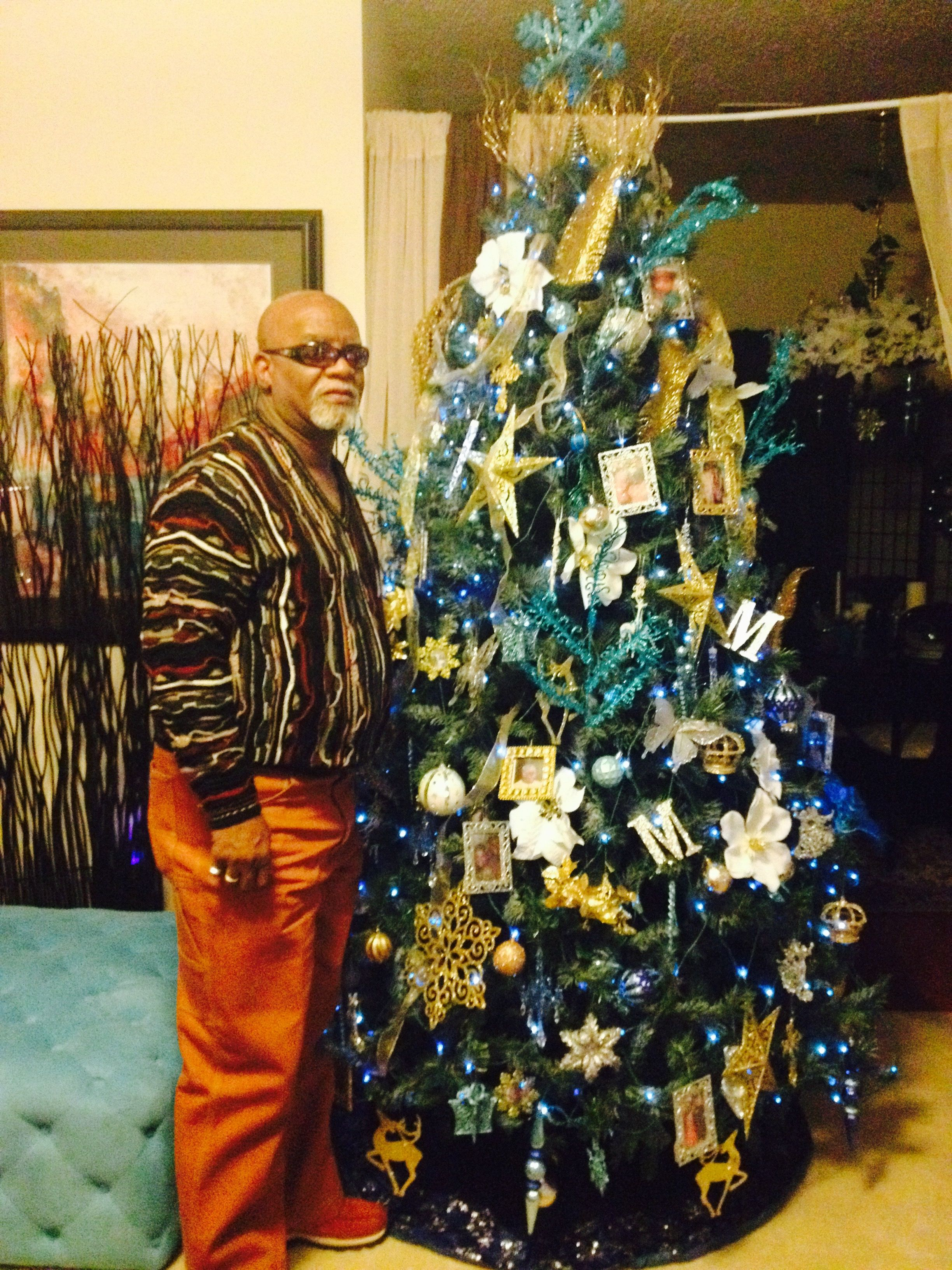 Blue and gold christmas tree decorations - Ricky Mckinnie Blue Gold Christmas Tree