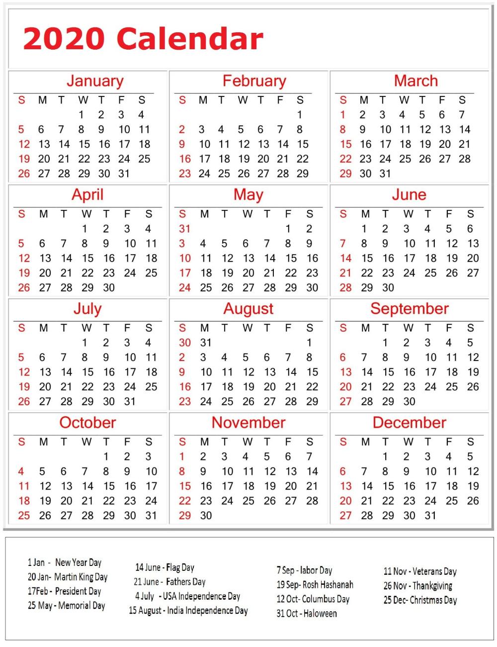 Printable 2020 Calendar With All American Holidays Holiday Printables Printable Calendar Pages Holiday Calender