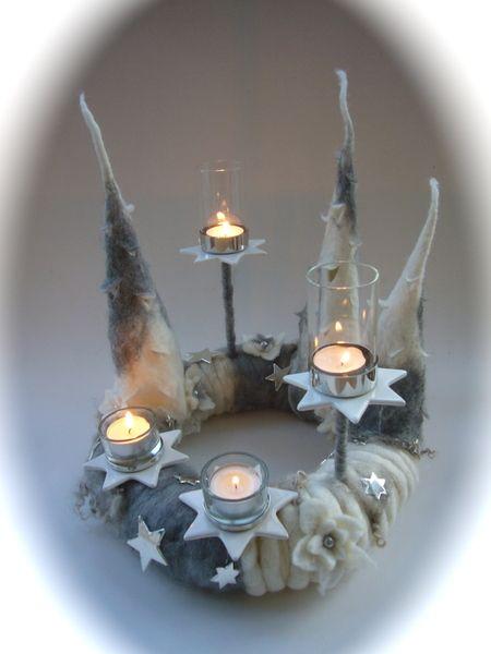 adventskranz gefilzt filz waldorf von filz art auf dawanda. Black Bedroom Furniture Sets. Home Design Ideas