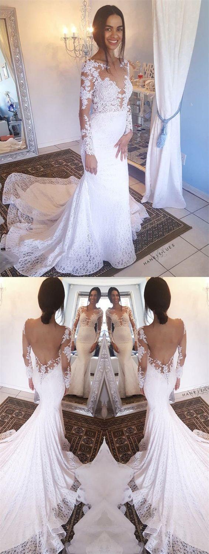470abdff960 Mermaid Bateau Long Sleeves Backless White Lace Wedding Dress