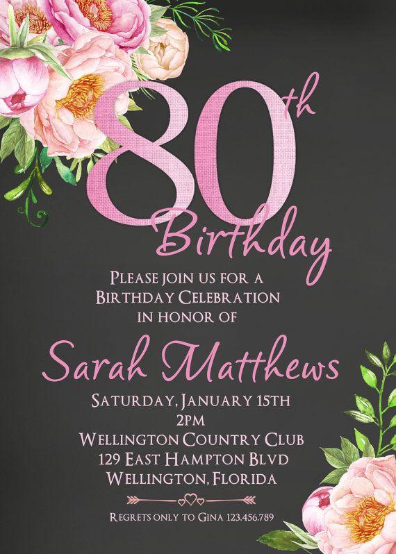 Invitación De Cumpleaños 80 Cualquier Edad Adultos Por