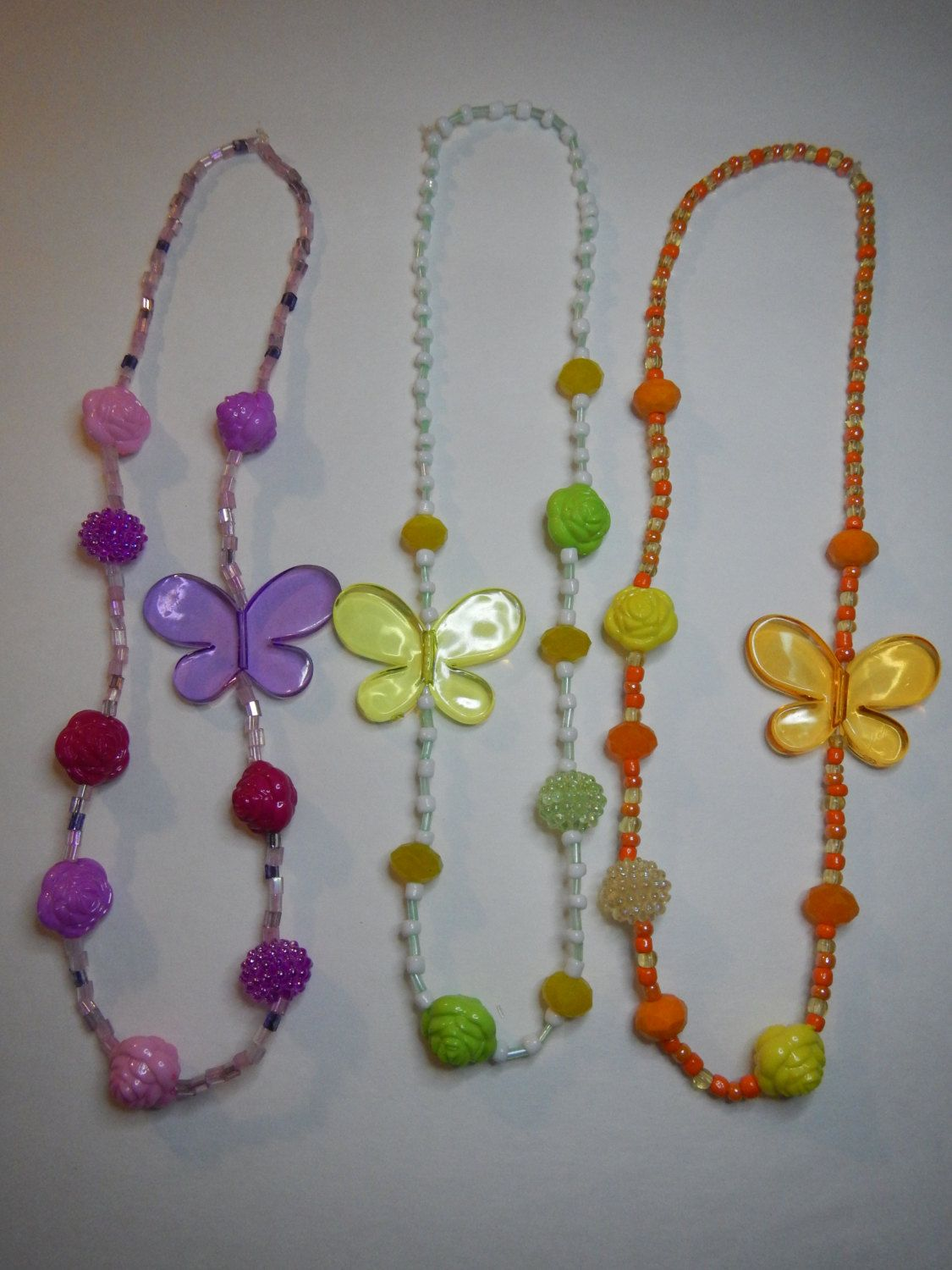 Butterfly Stretch Necklace for Girls by StoneJewelsByAng on Etsy