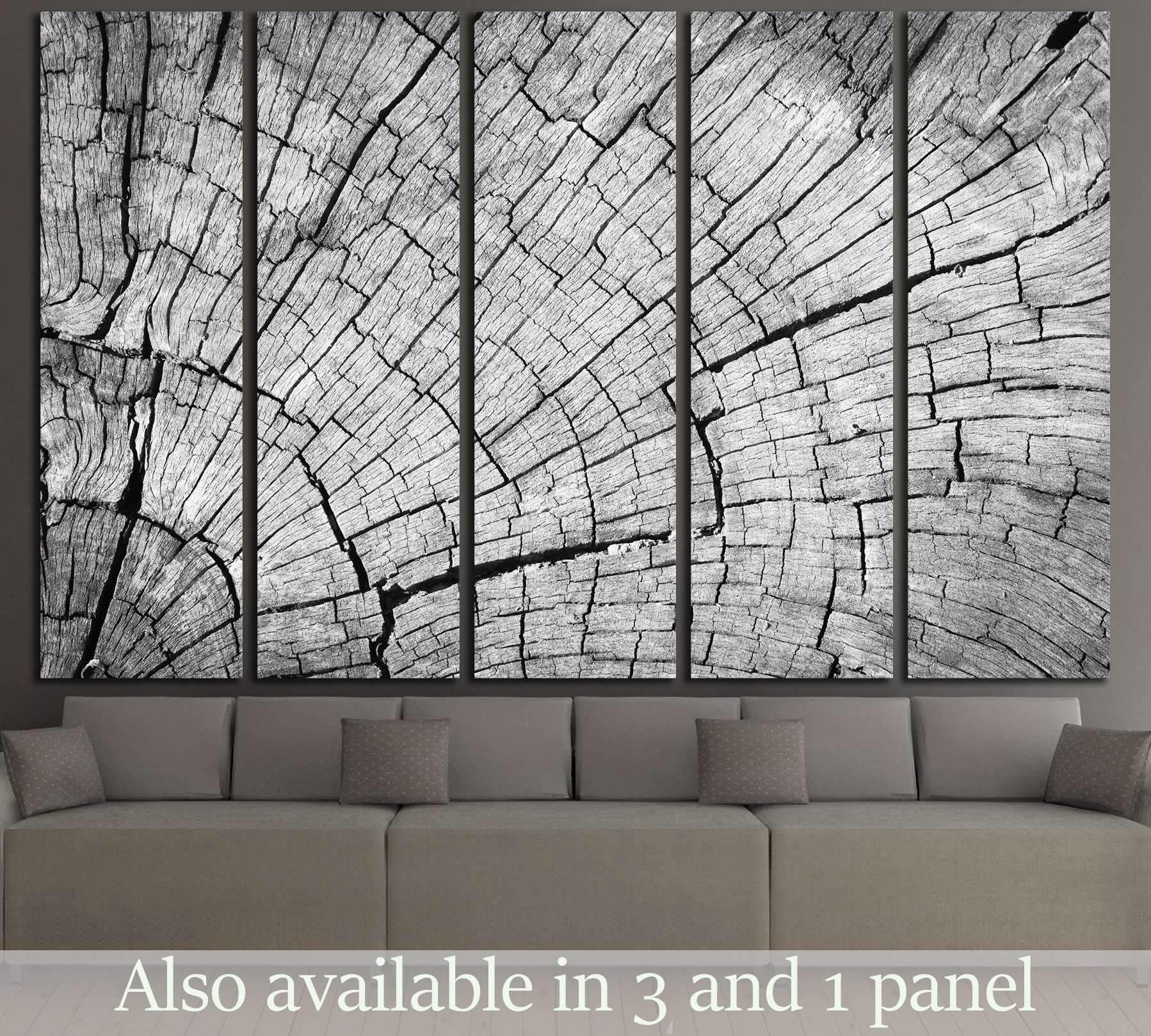 Old Gray cracked wood texture background №2836 Ready to Hang Canvas Print #woodtexturebackground