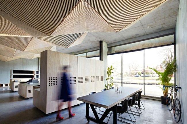 originelle abgehängte Decke Paneele Holz Büro | BBG | Pinterest ...