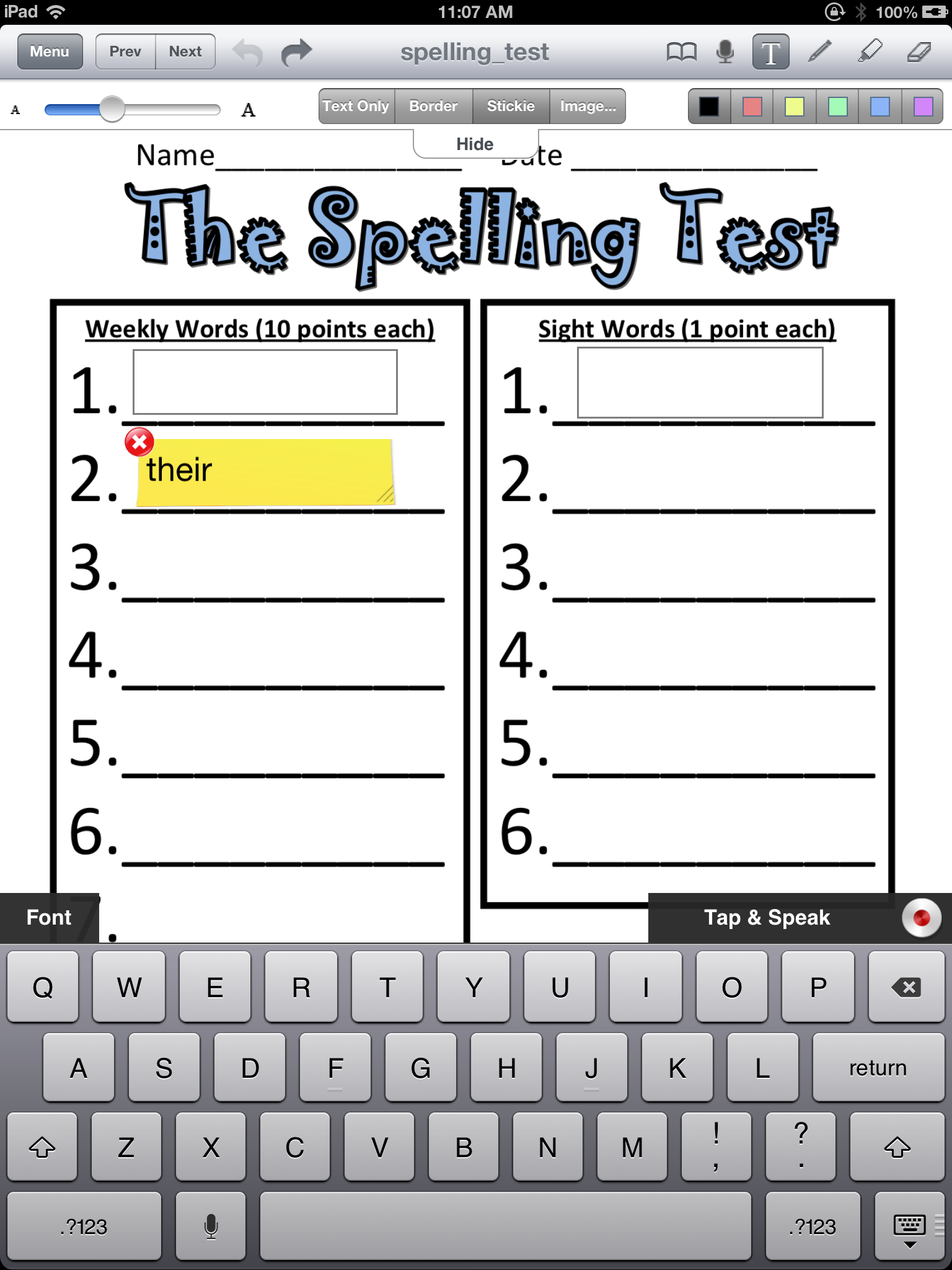 Editable S To Help Lighten Dependence On Writing To Enable Students To Type Their