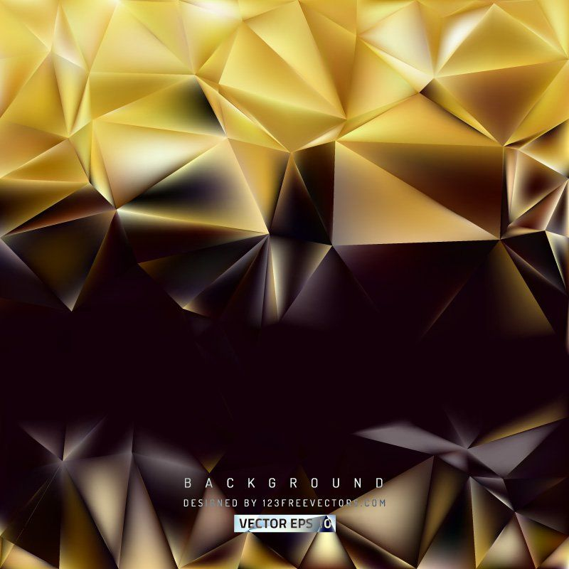 Abstract Black Gold Polygon Background Template #freevectors