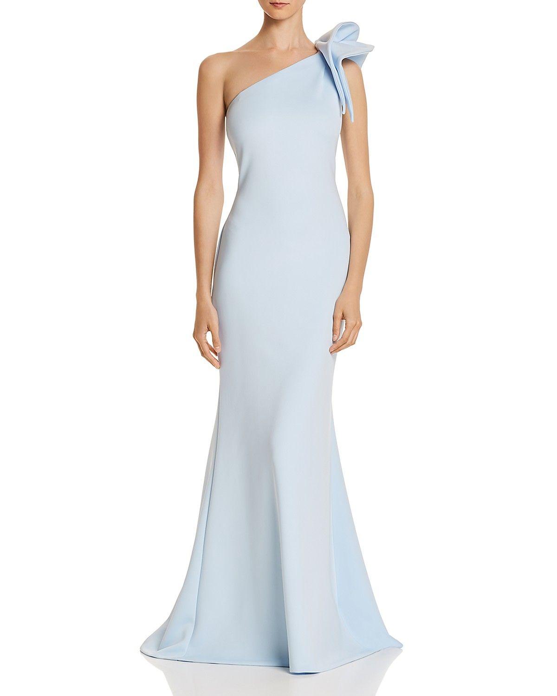 Aqua One Shoulder Scuba Gown 100 Exclusive Women Bloomingdale S Long Blue Dress Dresses Gowns [ 1500 x 1200 Pixel ]
