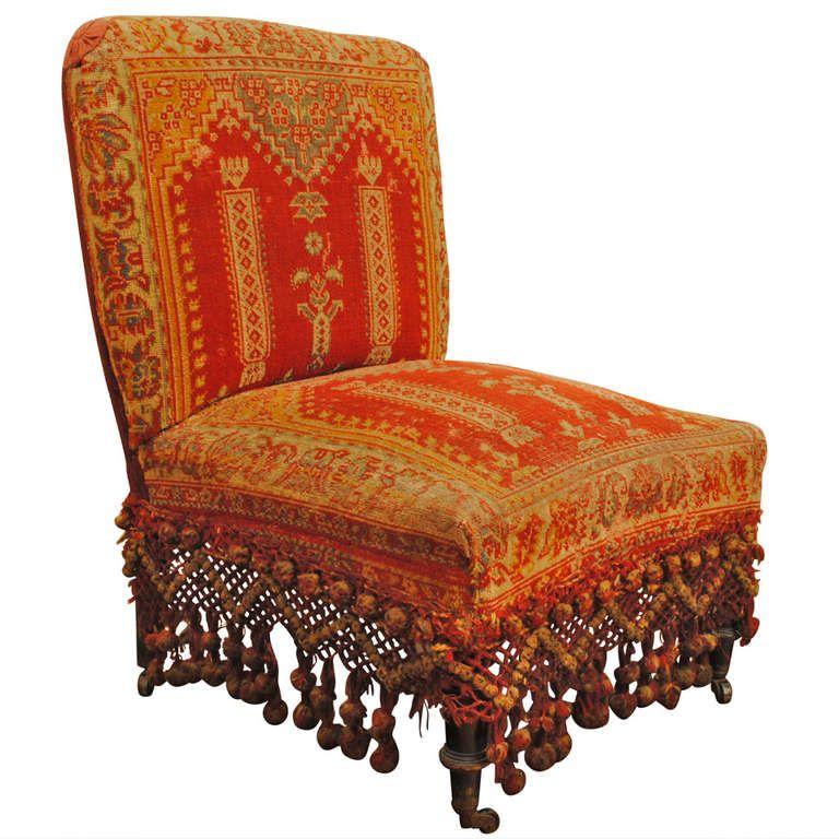 A Louis Philippe Ebonized Walnut And Carpet Upholstered Slipper Chair, La  Boheme