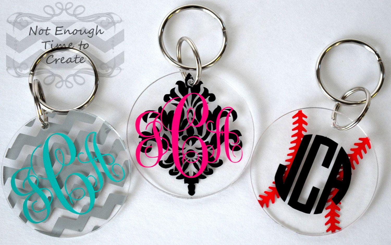 Acrylic monogram keychains by notenoughtime2create on etsy