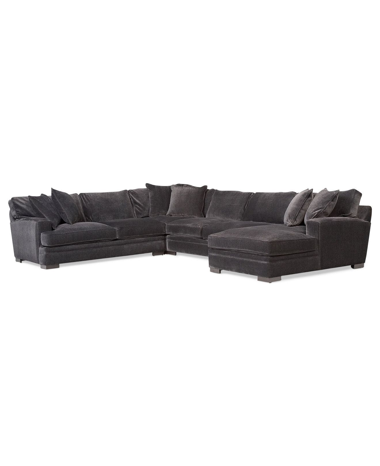 Teddy Fabric 4 Piece Chaise Sectional Sofa   Couches U0026 Sofas   Furniture    Macyu0027s