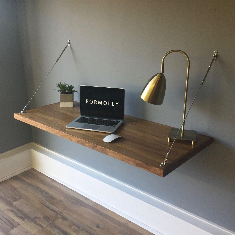 Small Wall Desk: Wall Mounted Floating Desk - Walnut In 2019