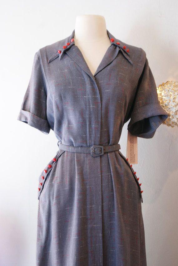 Jahrgang 1940 Kleid / / 40 grau atomare Flash von xtabayvintage ...