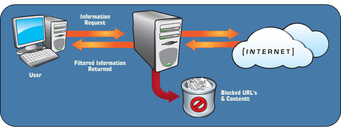 The content filtering software blocks inappropriate websites from the end user. The software can also be used to enforce company policies; for instance, blocking personal webmail sites like Hotmail can decrease lost productivity at the office.