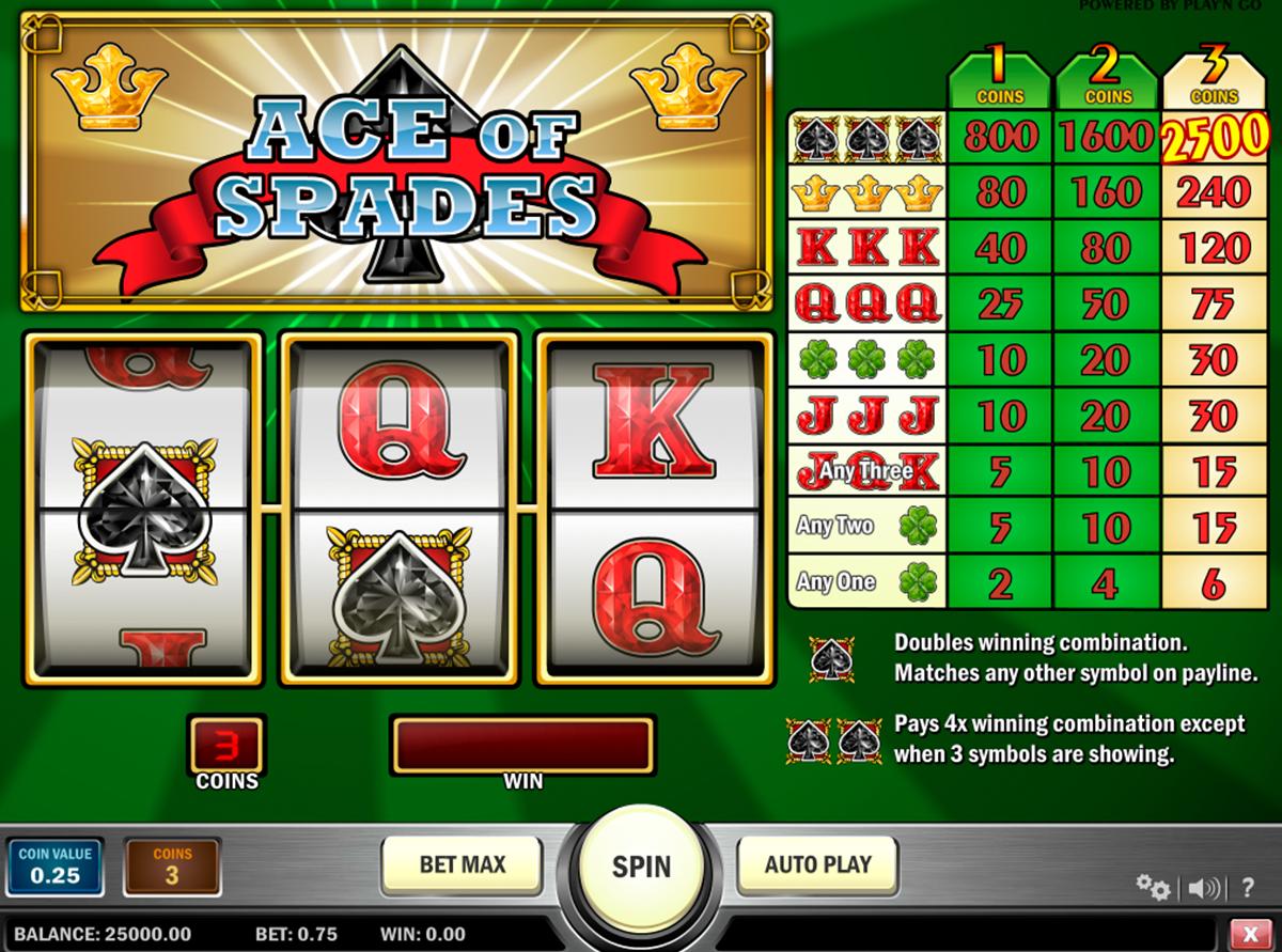 Ace of Spades on erittäin hyvää ilmainen kolikkopeli joka on Playngo kehittääjä! Kun aloitat pelata tämän valtava online kolikkopeli - näet hyvää grafiikka, erilaiset bonuspelit, 3 rullat ja 1 voittolinja mitä antaa kaikkille pelajaalle mahdolisuus voitta suuret voittot!