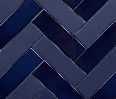 blue herringbone tile
