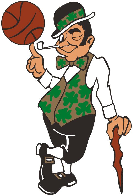 Boston Celtics Alternate Logo 1996 Celtic In Gold And Black Twirling A Basketball Boston Celtics Lucky The Leprechaun Boston Celtics Logo