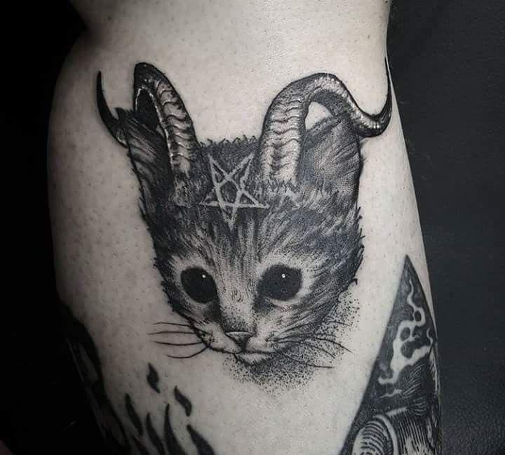 bba045935 Devil cat | tattoos | Tattoos, Satanic tattoos, Kitten tattoo