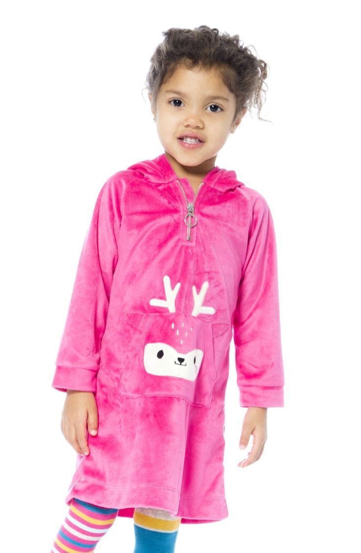 Soft fleece dress with fawn kids clothing