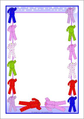 Pyjamas Themed A4 Page Borders SB5120 SparkleBox