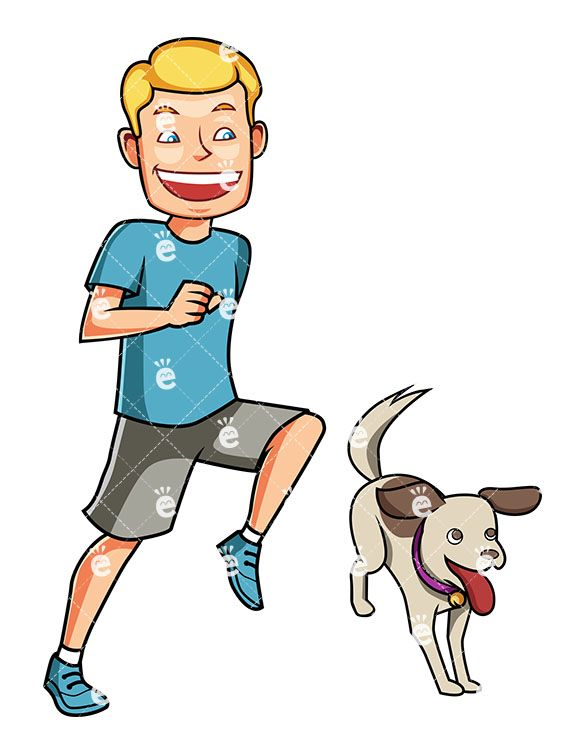 An Energetic Man Running With His Dog Cartoon Dog Dogs Cartoon