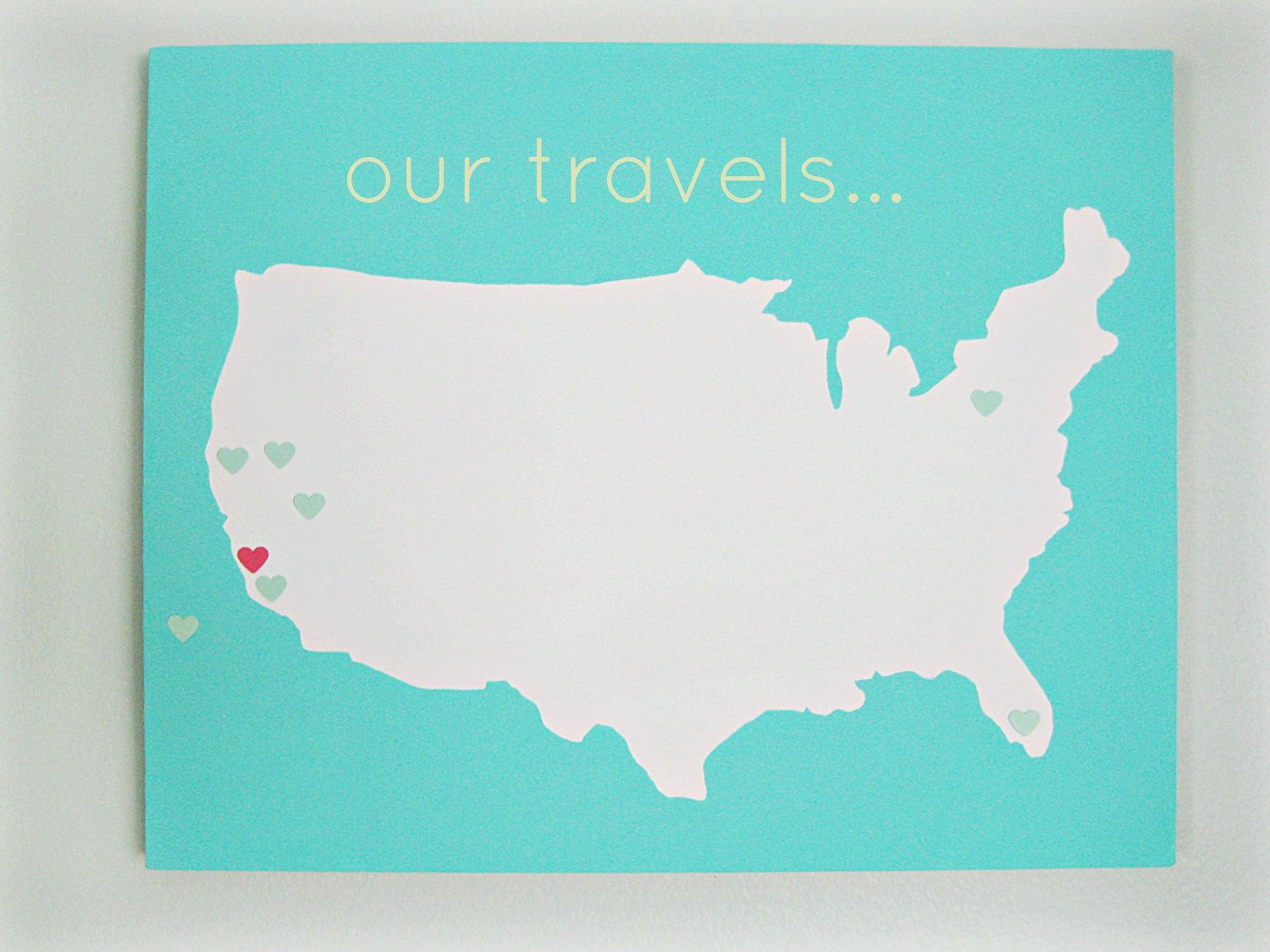Customize Us Map.United States Our Travels Diy Customize Map 16x20 Canvas Acrylic