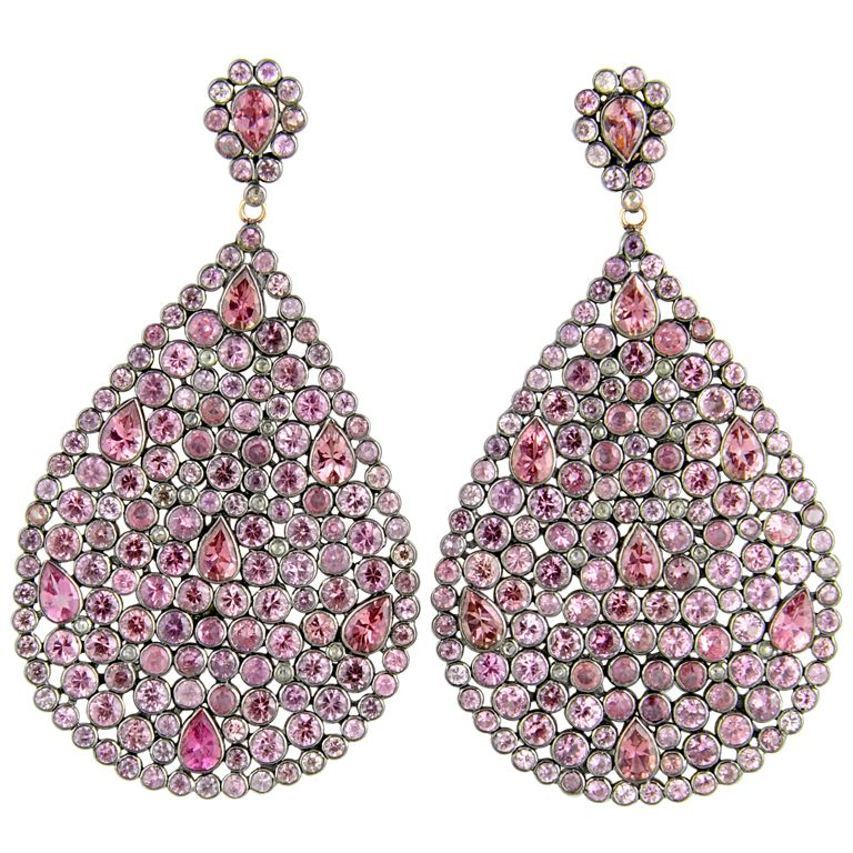 Impressive Large Pink Sapphire U0026 Diamond Dangling Earrings