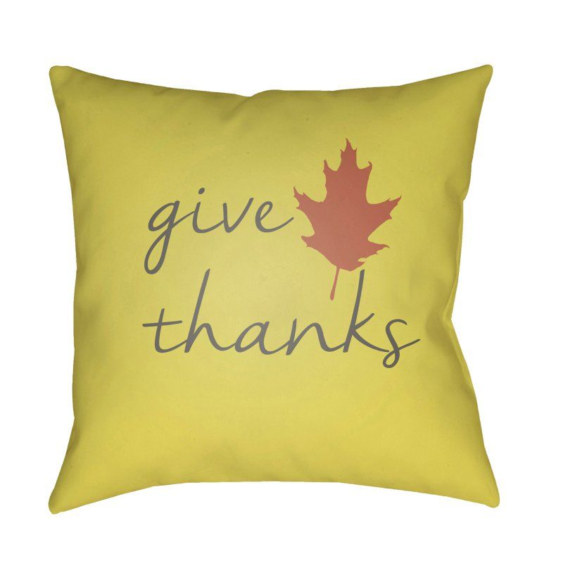 Surya Give Thanks Giving Tree Outdoor Pillow Yellow - LEA004-1818