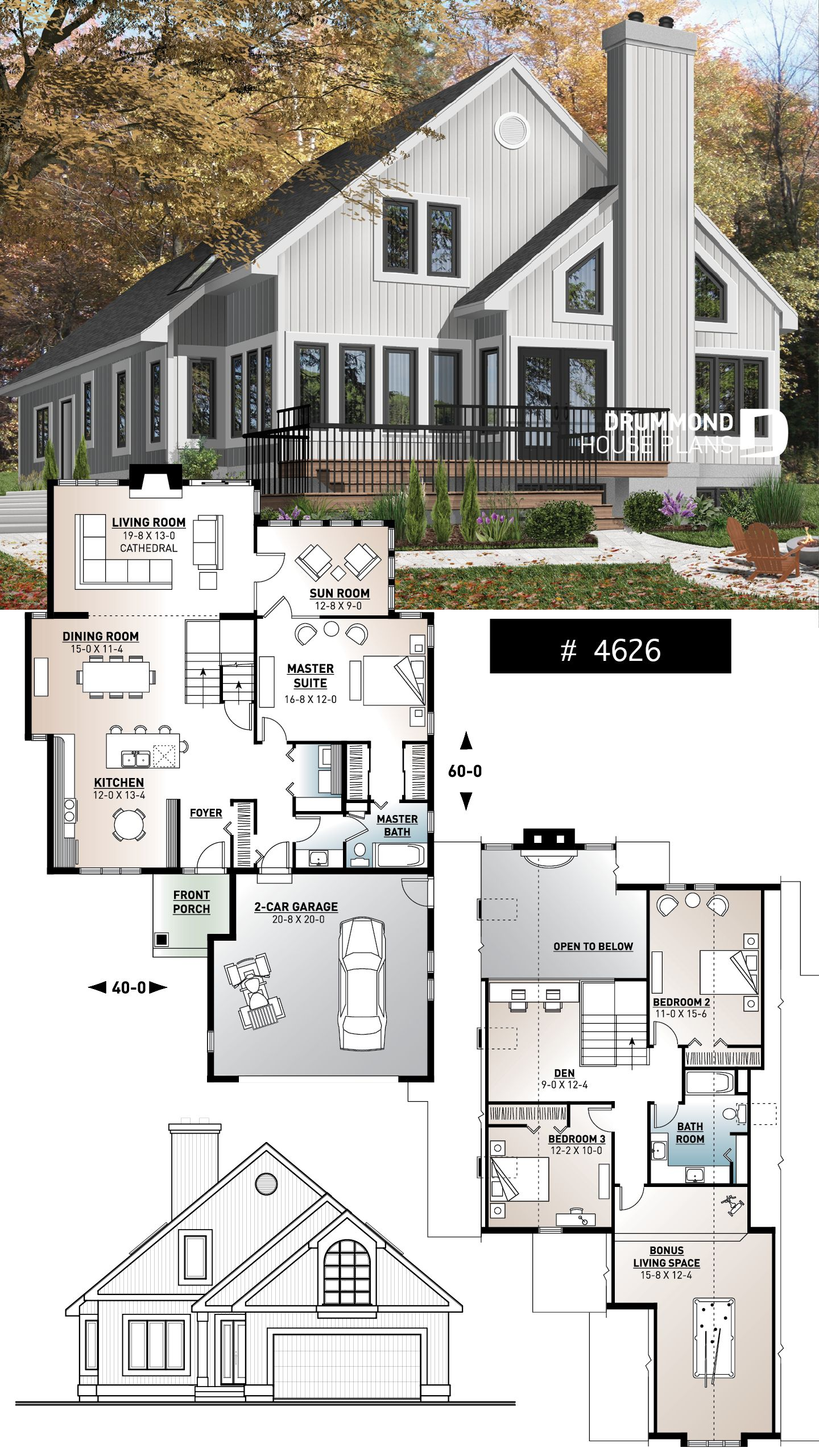 Discover The Plan 4626 Grandmont Which Will Please You For Its 3 4 Bedrooms And For Its Cottage Chalet Cabin Styles Architecture House House Plans Architecture Plan