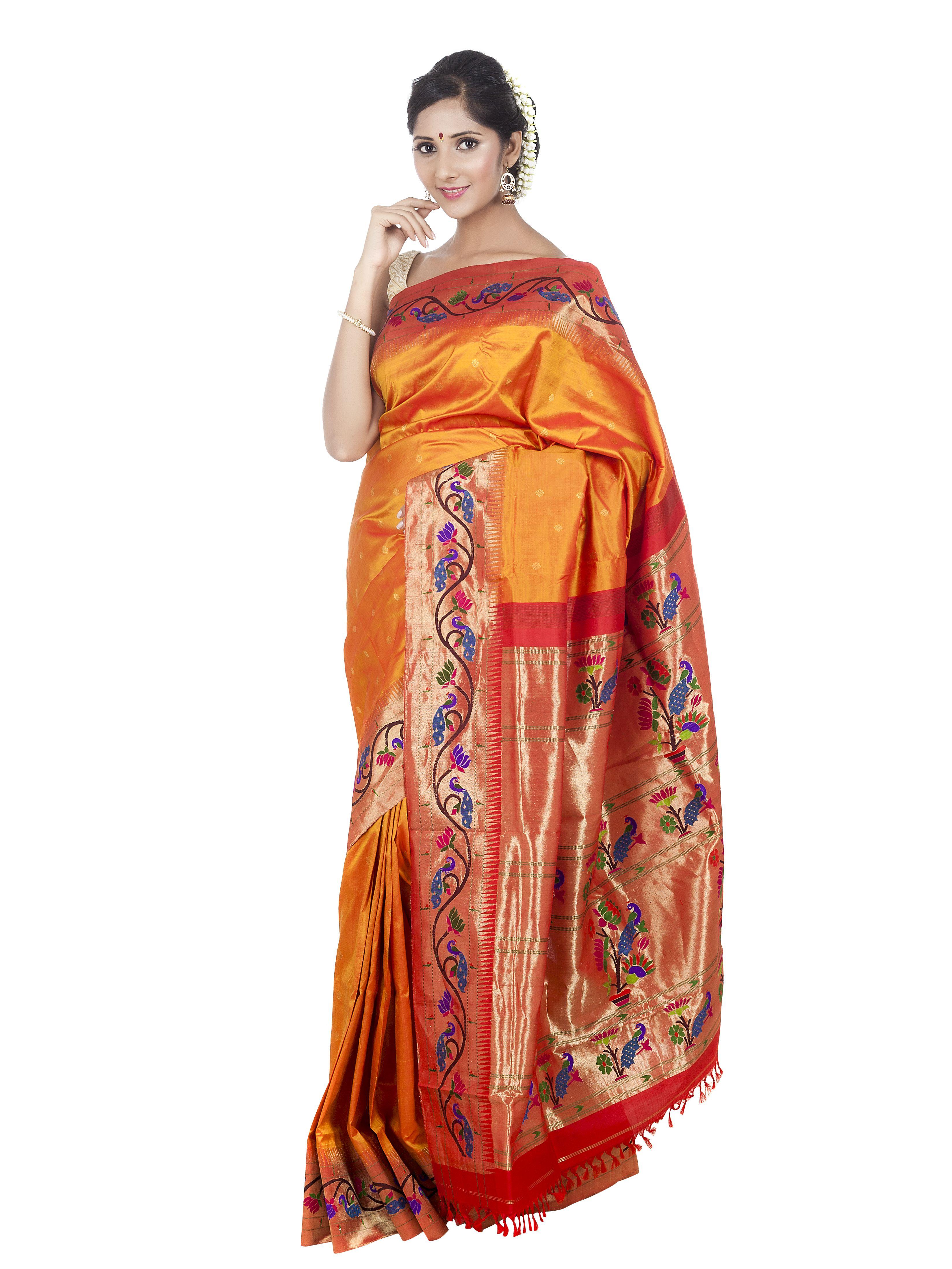 f99825dffb434 Golden Paithani saree with intricate peacock and lotus borders.  paithani   navratricolors  festival  traditionalsaree  handloomsaree  designersaree