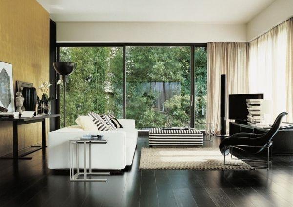 Schwarz-Weiß Wohnzimmer-Einrichtung Holzboden Interior Design - wohnzimmer schwarz wei