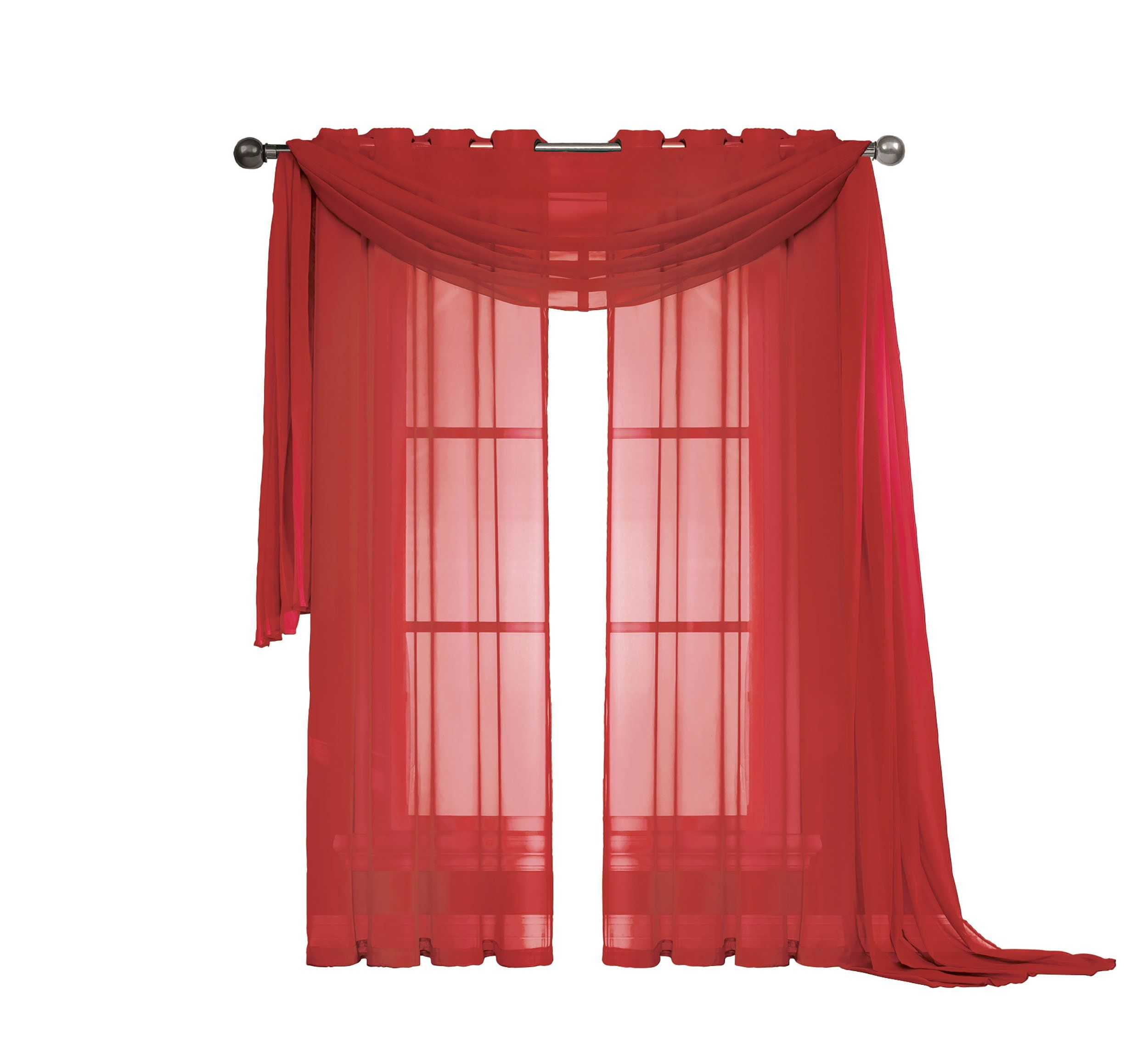 Window Elements Diamond Sheer Voile 56 X 216 In Curtain Scarf Red