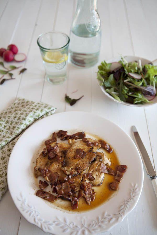 Nina's Kitchen: Escalope de pollo con beicon y vino blanco