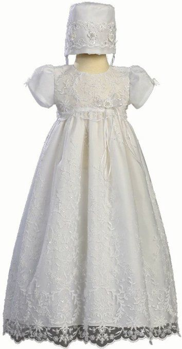 Embroidered Tulle Christening Baptism