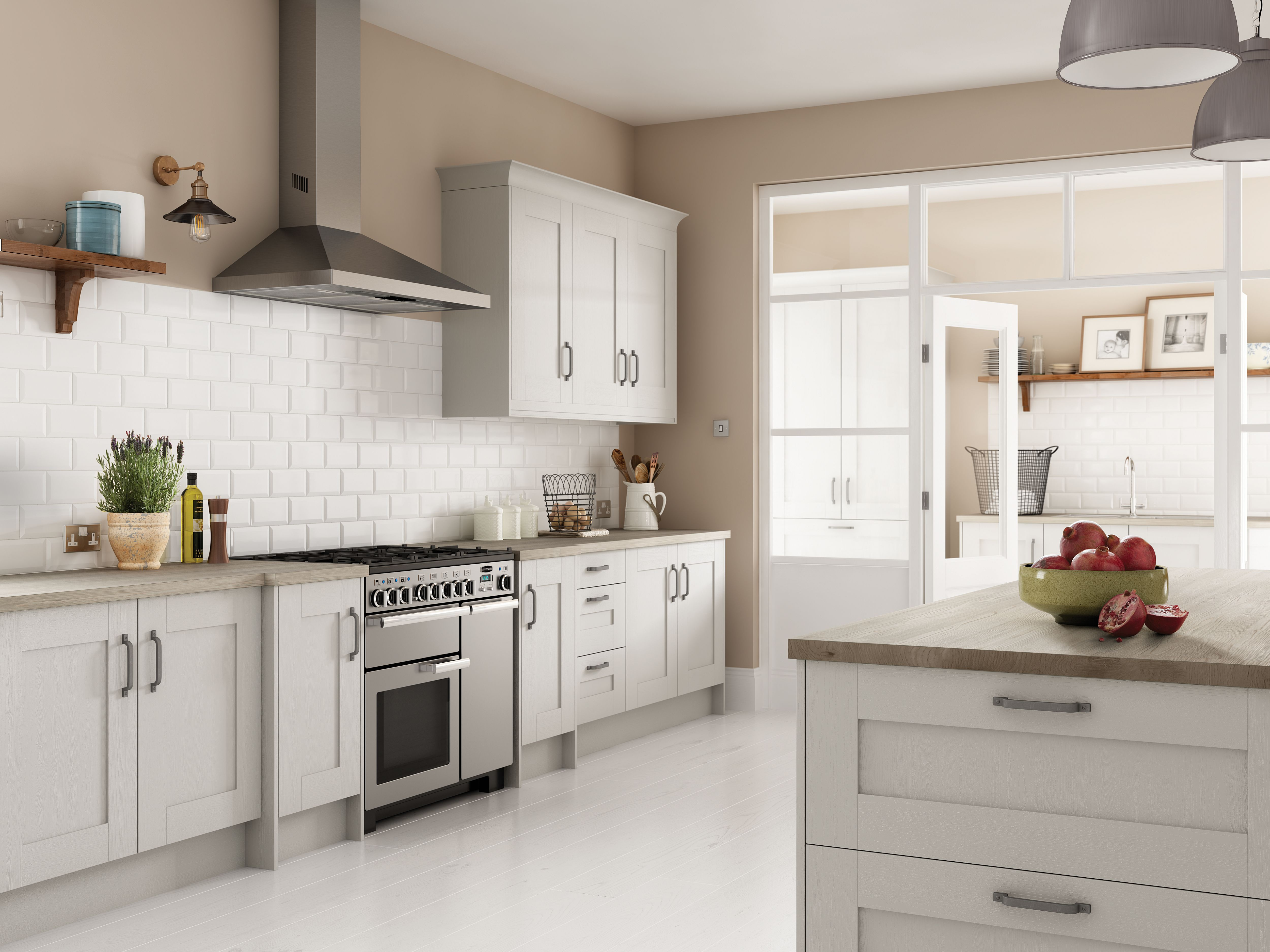 The Kensington kitchen in 'Haze'. This range is available