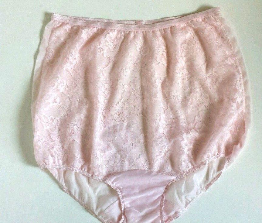 e23fa4e15dc Vintage Pink Nylon Panties Vanity Fair Lace Front Nylon Backed Size 7 Satin  Tab…