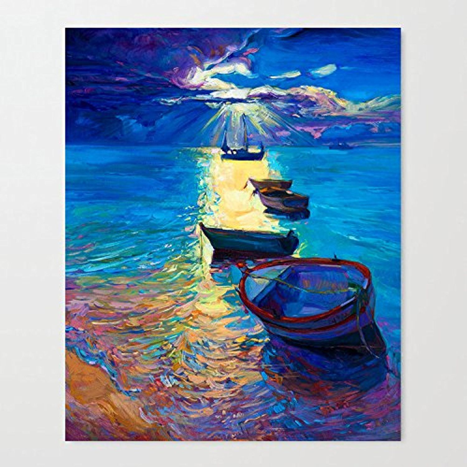 Sunningq Oil Painting Sea Scenery Wood Frame Canvas Prints 12