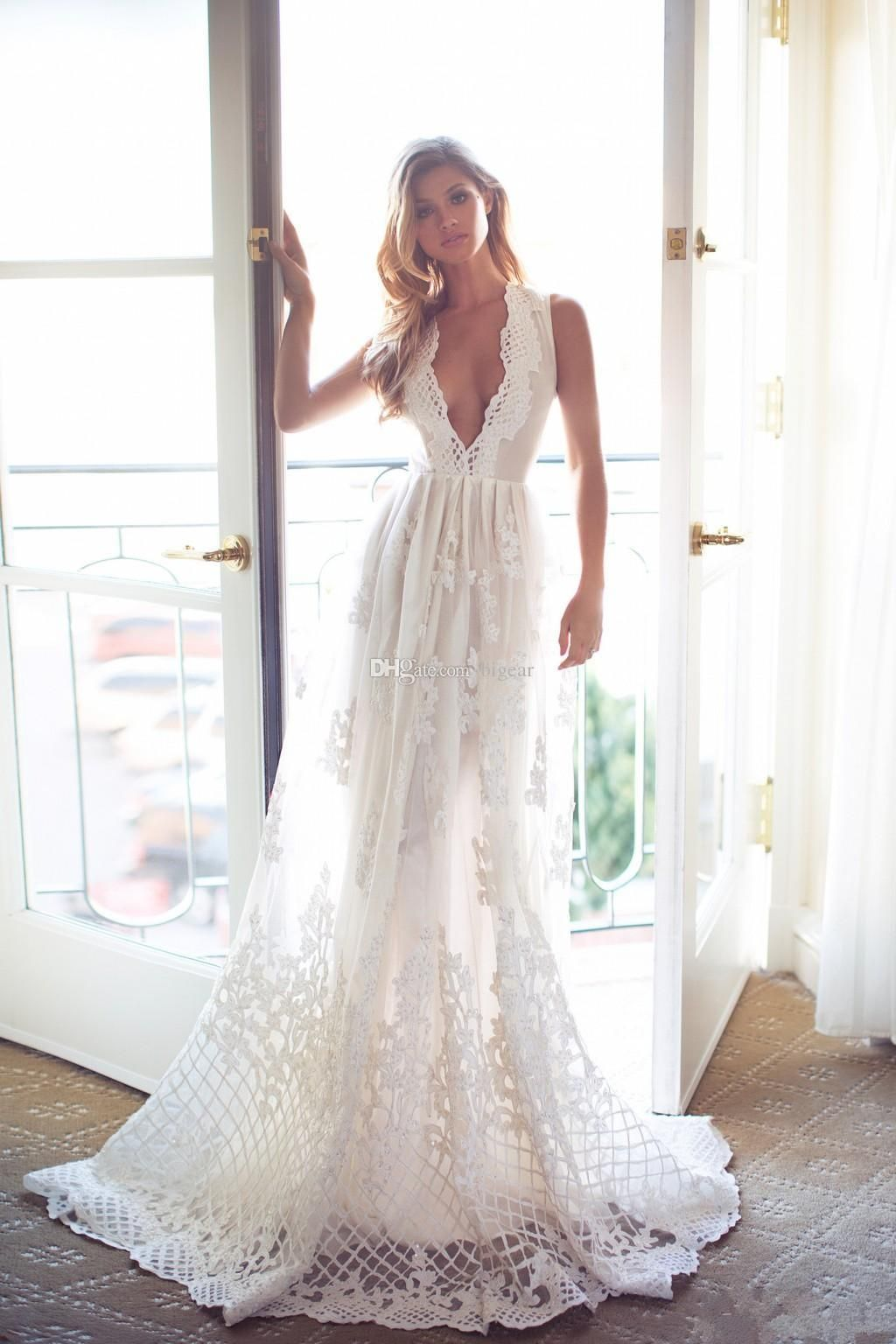 Plunging neck long wedding dress with illusion back in dream