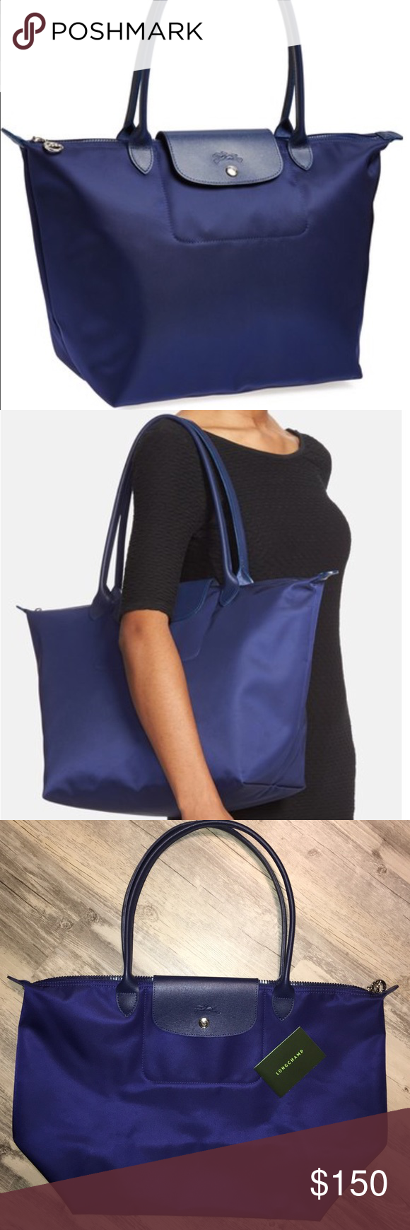 fd66a4f06ff6 Longchamp large Le Pliage Neo nylon tote bag purse Brand new with out tags  . 100% Authentic . Color is navy . The straps are navy also .