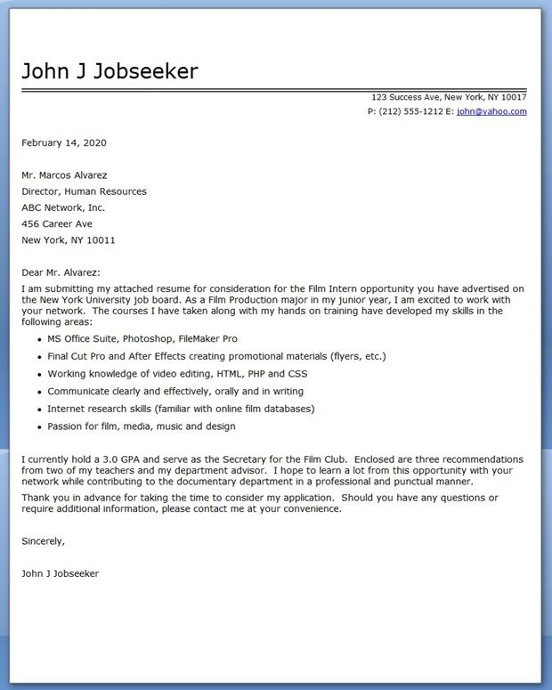 Internship Cover Letter Sample Pdf