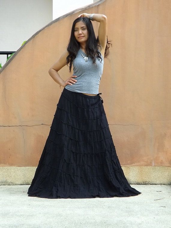 88f65eb758 Long Skirt ...Boho Skirt ....Color Black ... Soft and by Ablaa, $47.00