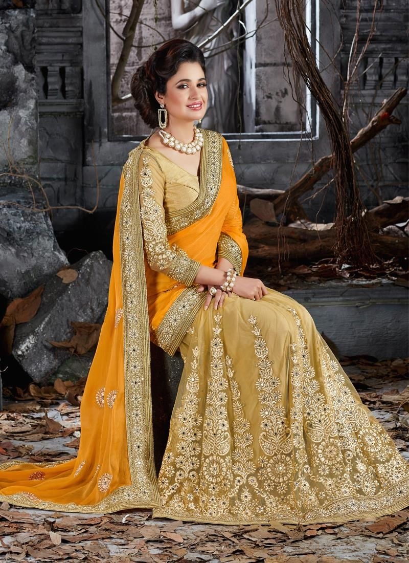 Sumptuous Faux Chiffon Embroidered Work Designer Saree                                                                                                                                                                                 More