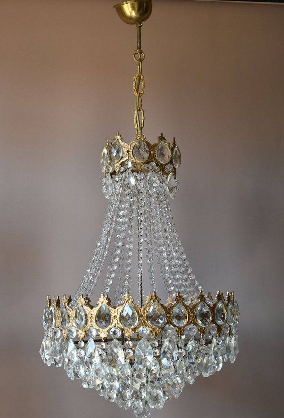 Large Vintage Crystal Chandelier 1950 S Crystal Light Antique