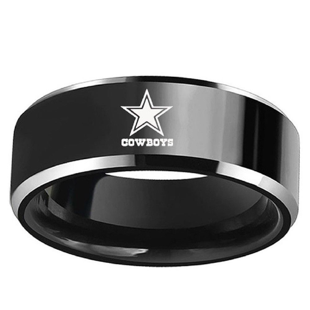 Dallas Cowboys Football Black Titanium Stainless Steel Men Ring Band Size 6 13 Cowboys Cowb Dallas Cowboys Rings Stainless Steel Wedding Bands Football Rings