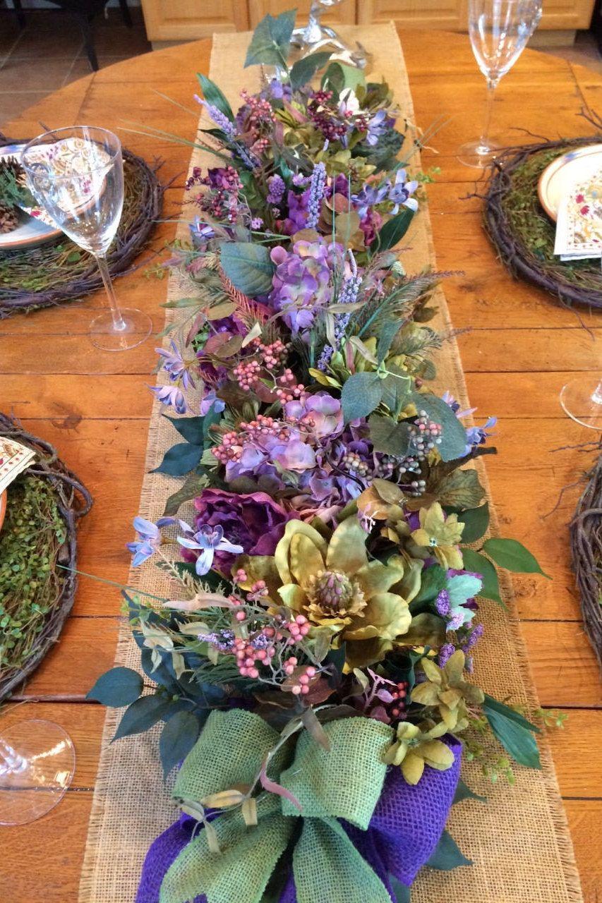 Spring Summer Garland Lush Silk Floral Runner Purple And Floral Runner Floral Swag Floral Table Runner