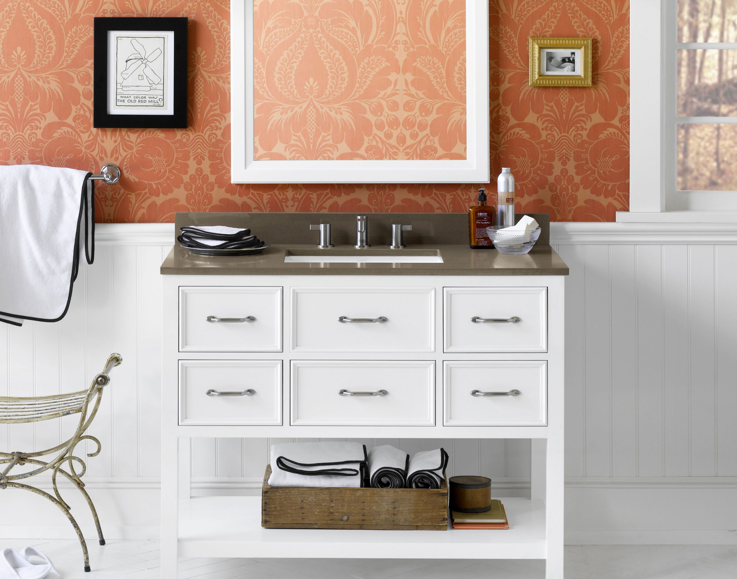 Ronbow Bathroom Vanities 052742 Newcastle 42 Wood Vanity Cabinet With Five Functional Drawers And Open Bottom Shelf