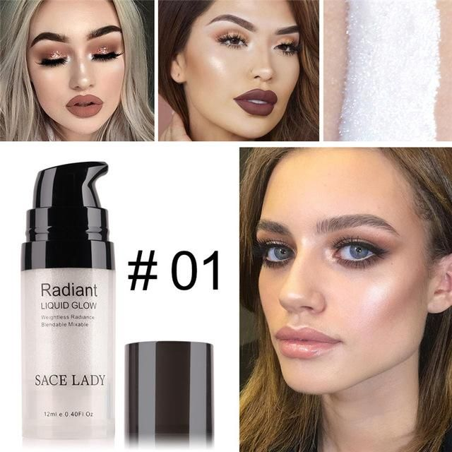 00363b8e6920 SACE LADY Face Highlighter Liquid Illuminator Shimmer Glow Makeup ...