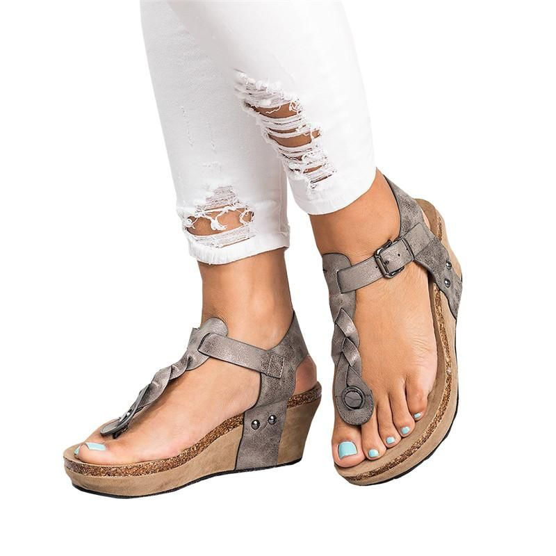 d1c0f104416 Chellysun Women s Boho Braided Wedge T-Strap Sandals boho summer  comfortable strappy Gladiator leather resort sandals shoes  sandals   bohochic  bohostyle ...